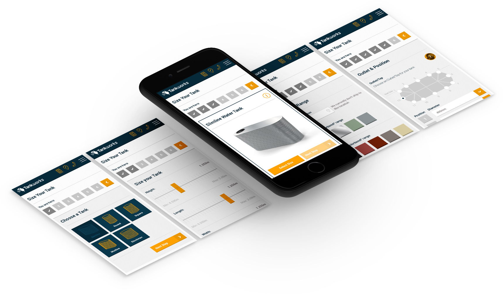 Tankworks app screens